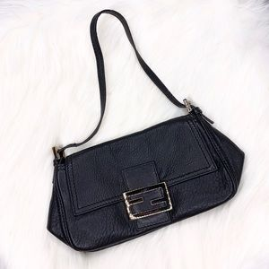 Authentic Fendi Black Leather Baguette Purse Bag